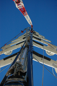 World's tallest aluminium mast unstepped by Marine Results for inspection