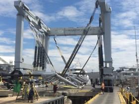 Ahimsa rig coming off barge